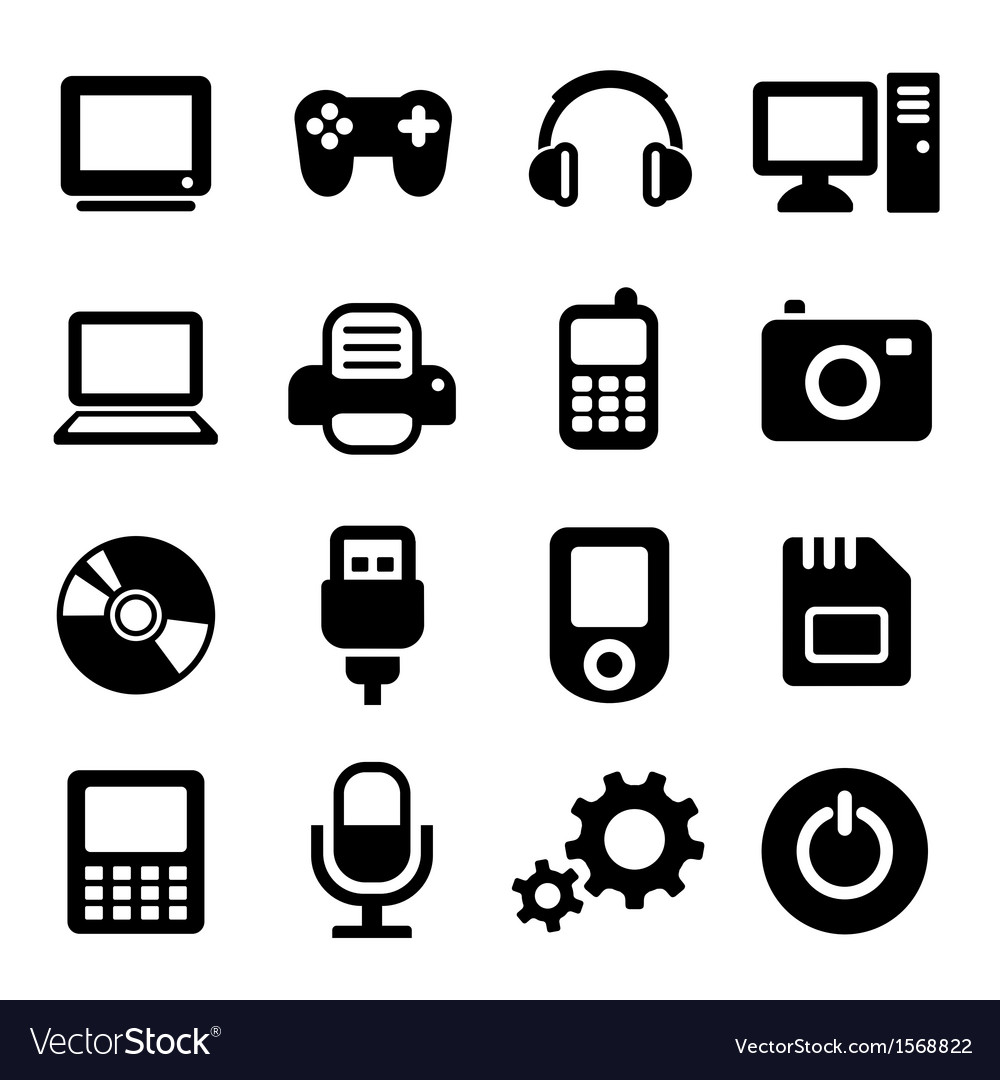 Multimedia gadget icons set Royalty Free Vector Image