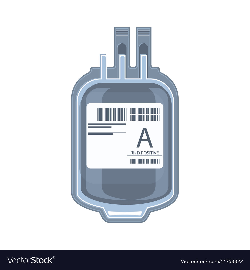 Plastic bag containing packed cells blood vector image