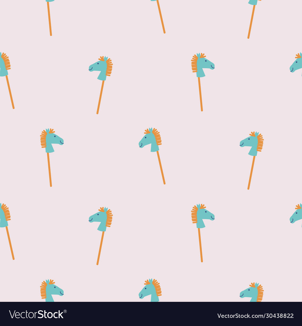Seamless pattern with rocking horse sticks cute
