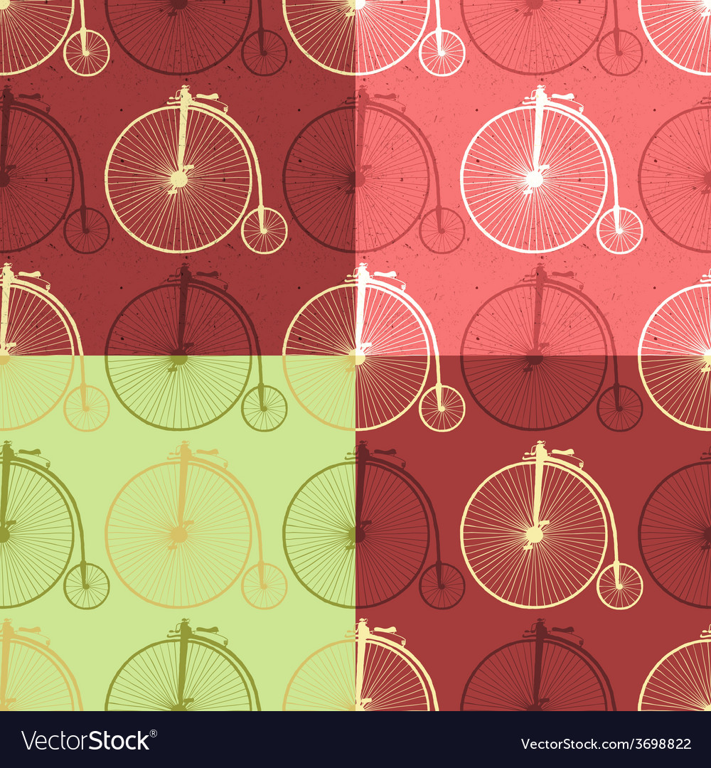 Set of abstract vintage bicycle seamless