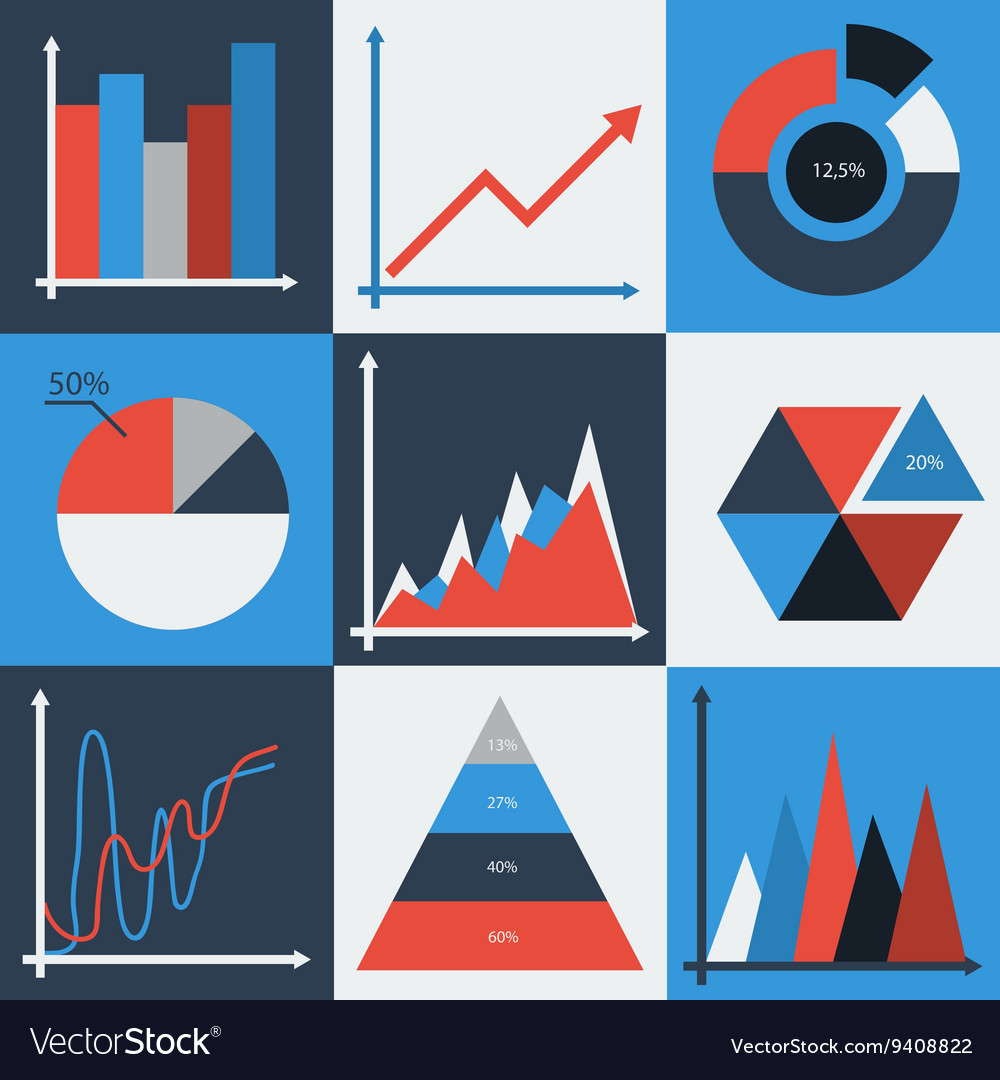 Set of business charts statistic diagrams