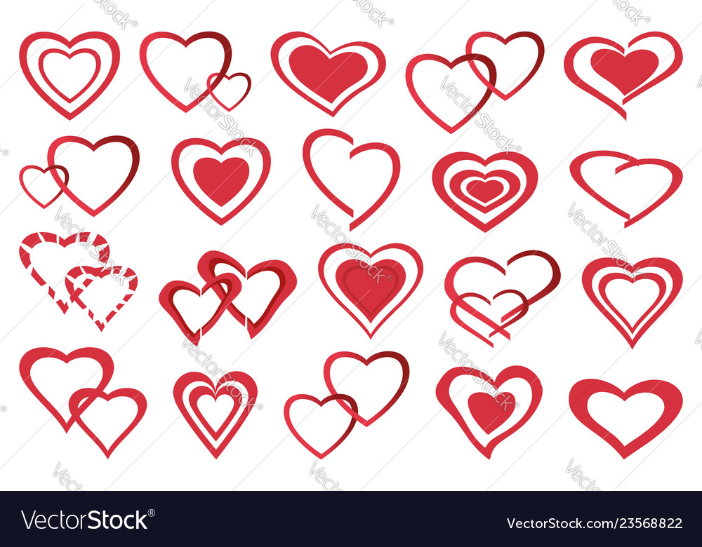 Set of decorative red heart icon
