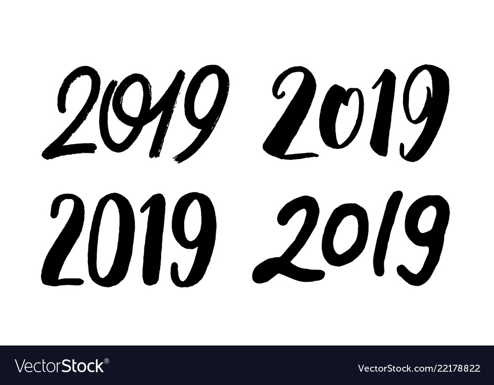 Set of handwritten numbers 2019 for new year