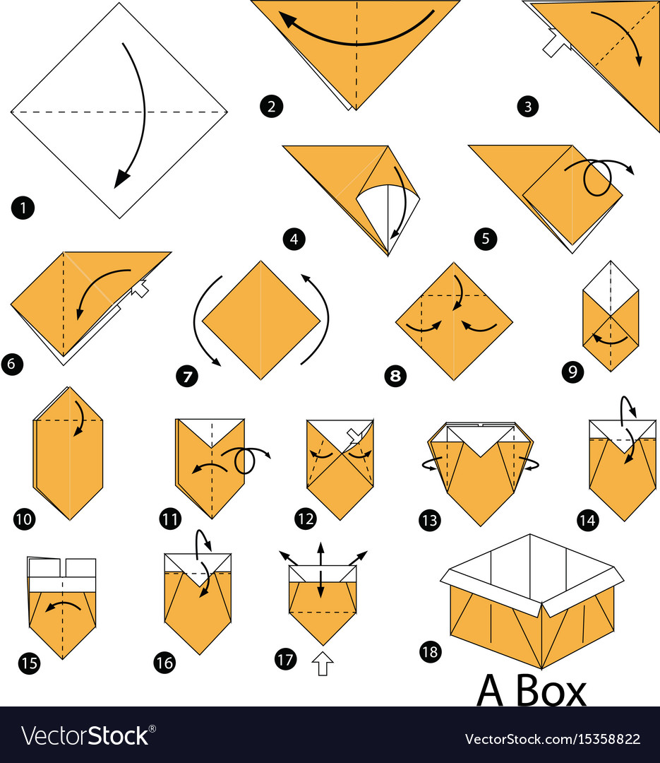 Step Instructions How To Make Origami A Box Vector Image