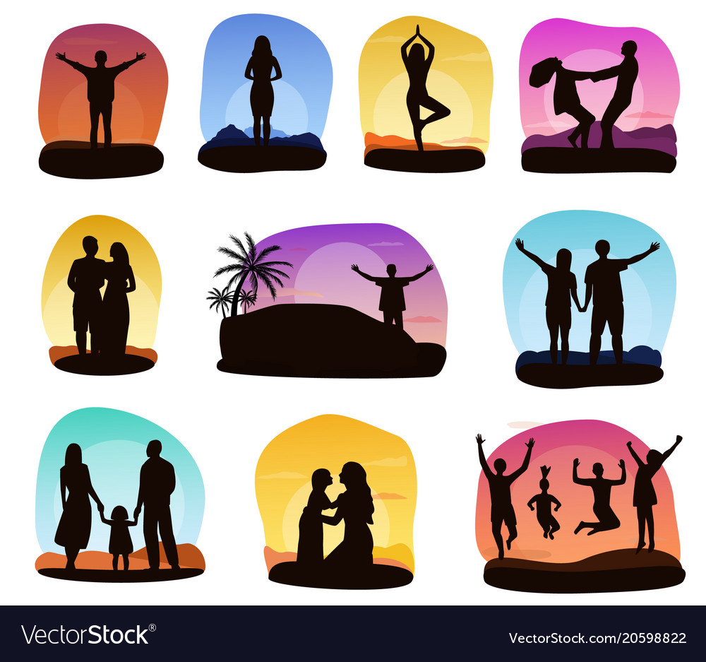 Sunset people silhouette of family or