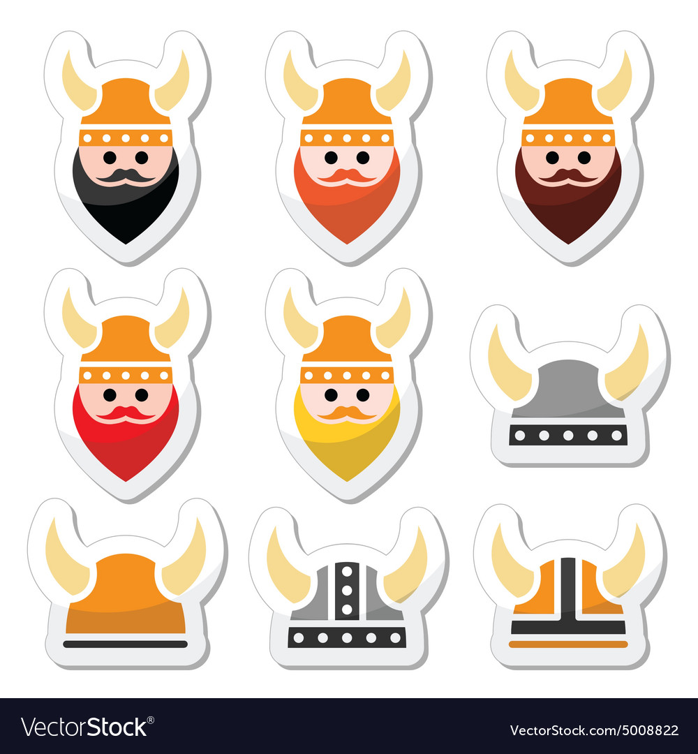 Viking warrior in helmet icons set