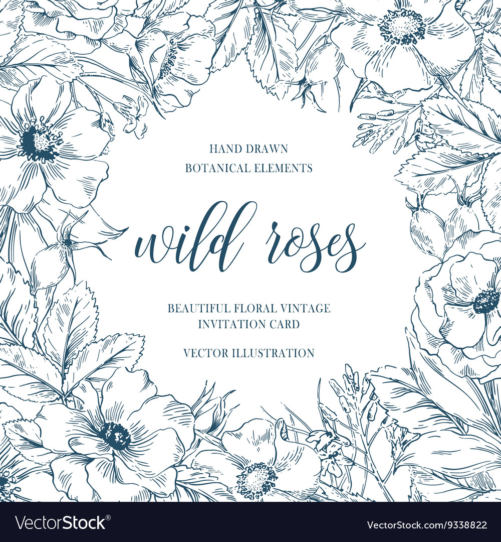 Wild roses floral frame