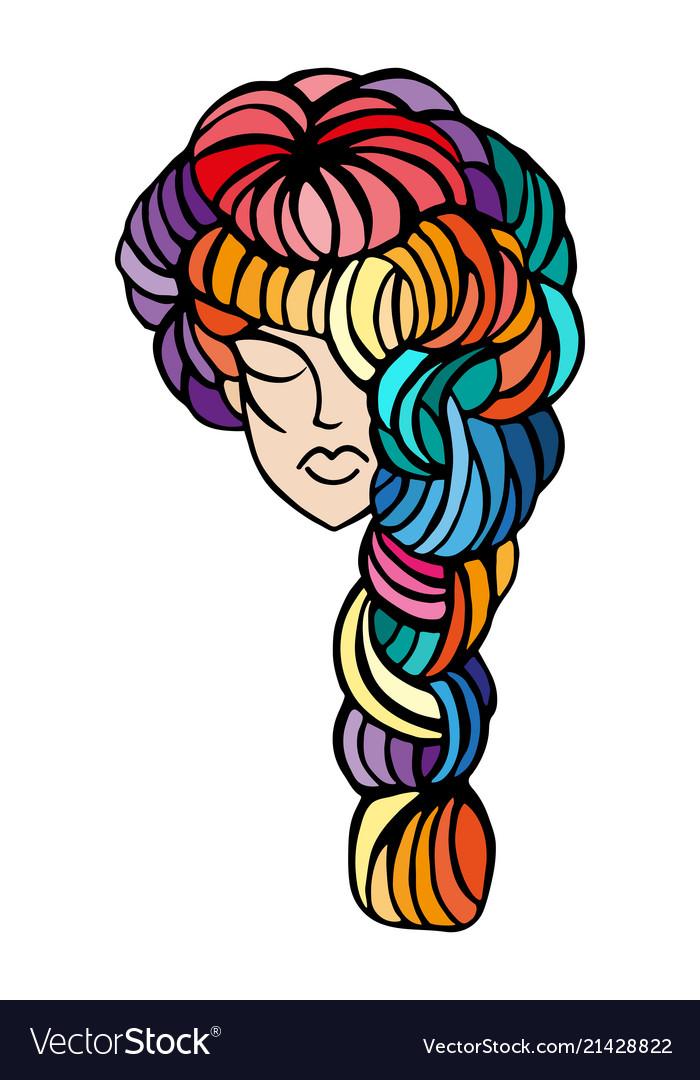 Women Long Hair Style Icon Logo Royalty Free Vector Image
