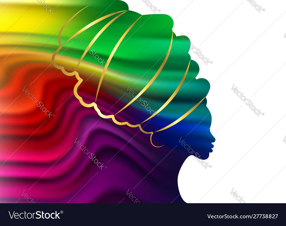 Afro woman in wave liquid shape template
