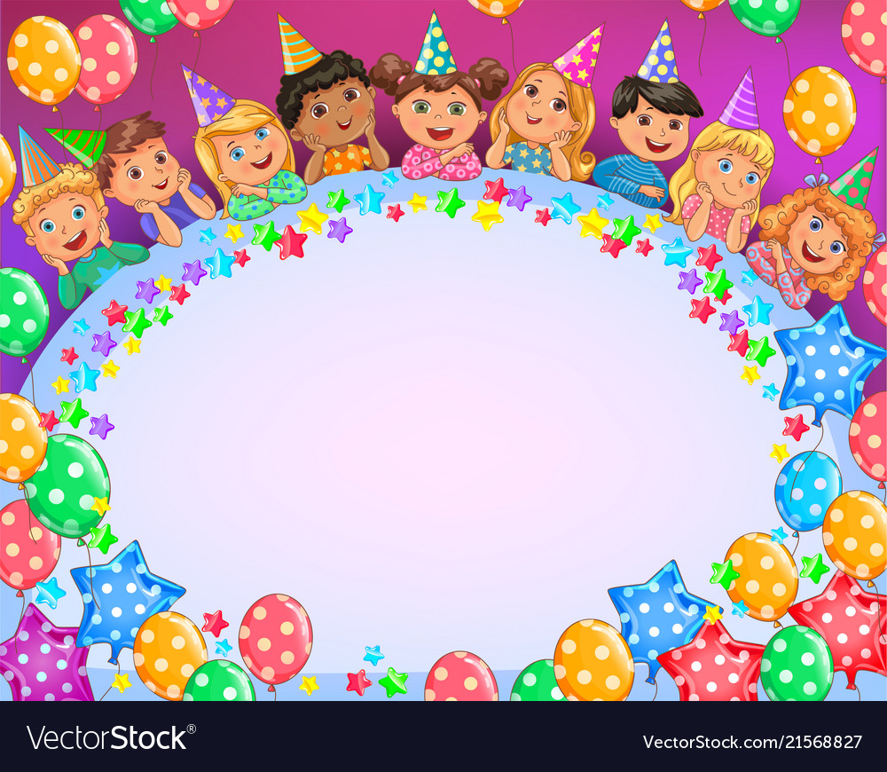 Birthday Bright Frame Cute Kids Royalty Free Vector Image