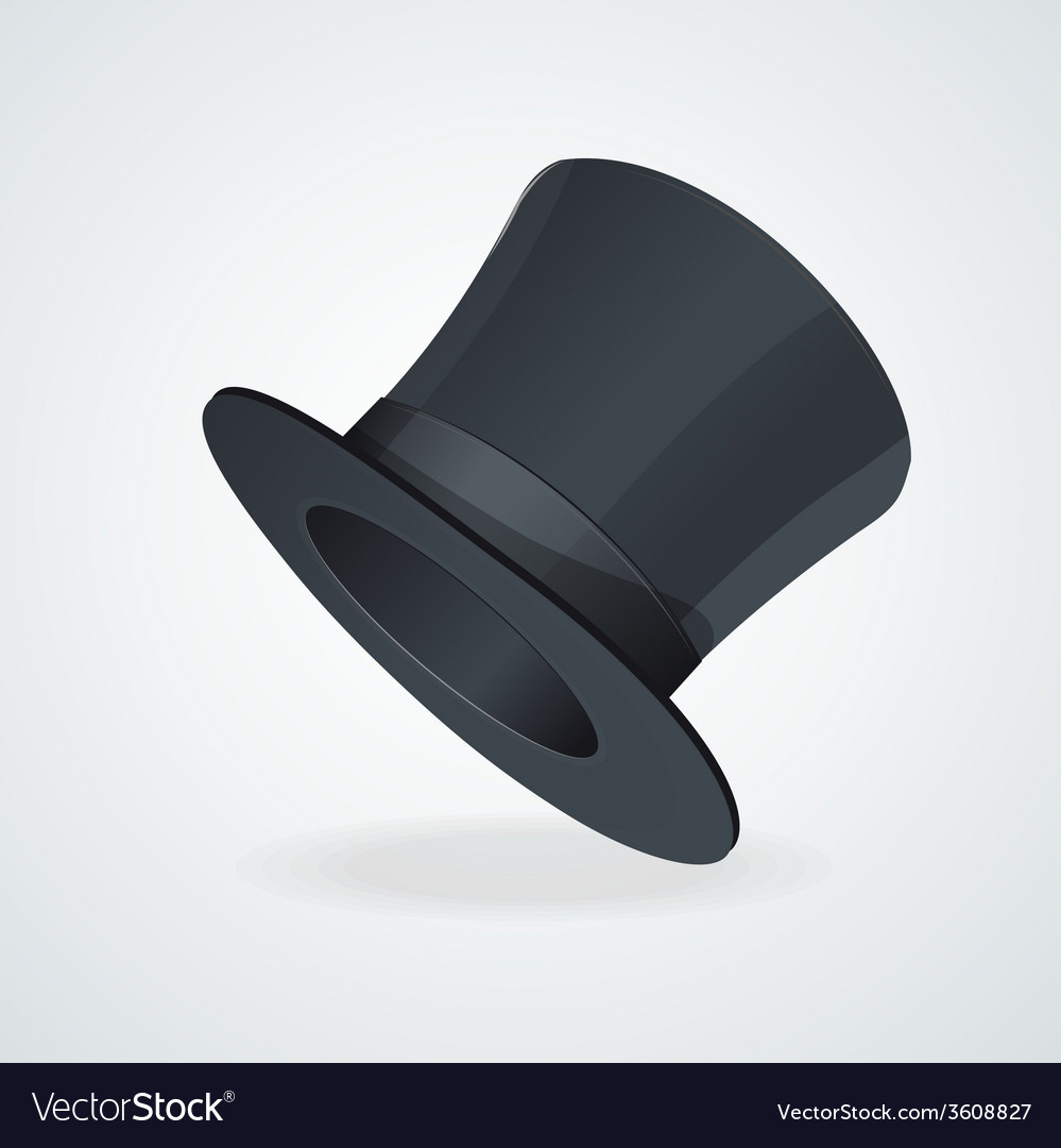 Black top hat on white