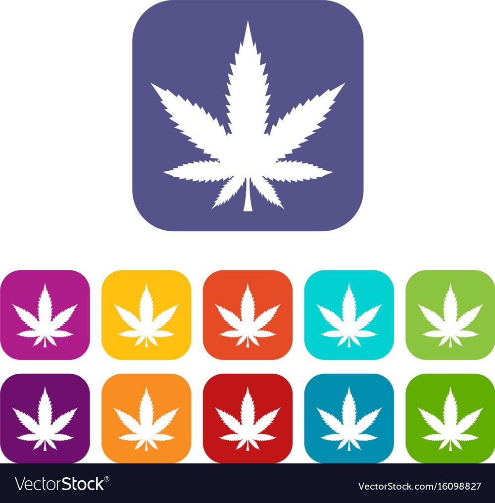 Cannabis leaf icons set