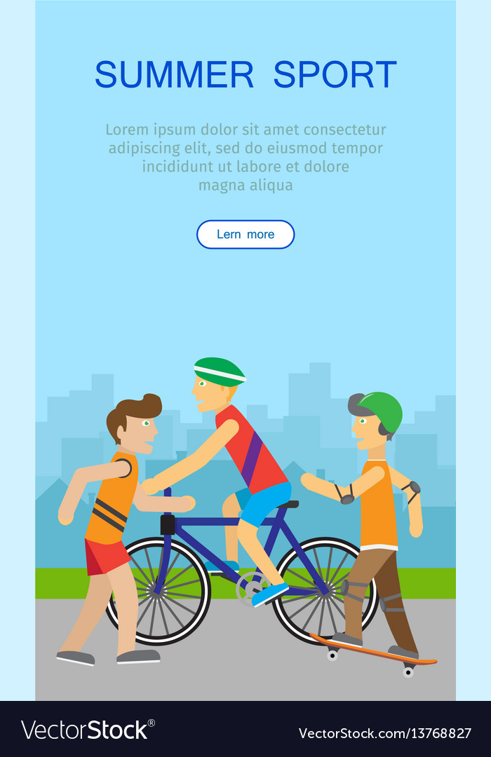Children going in for sport web banner poster vector image