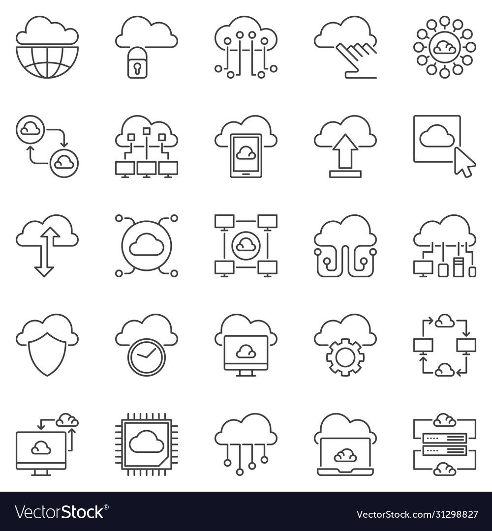 Cloud computing outline icons set
