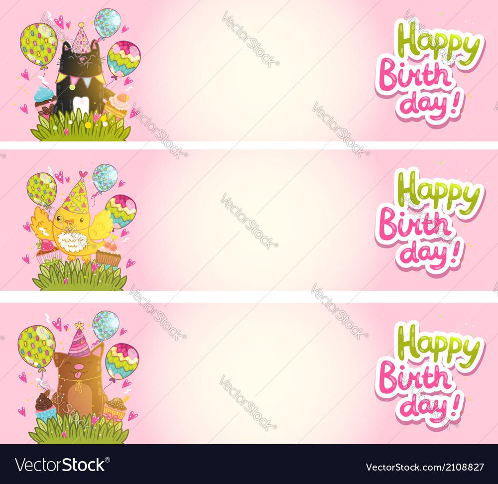 Happy Birthday Cards With Cat Dog Bird Vector Image