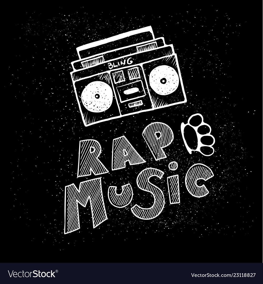 Inscription lettering rap music stylized in