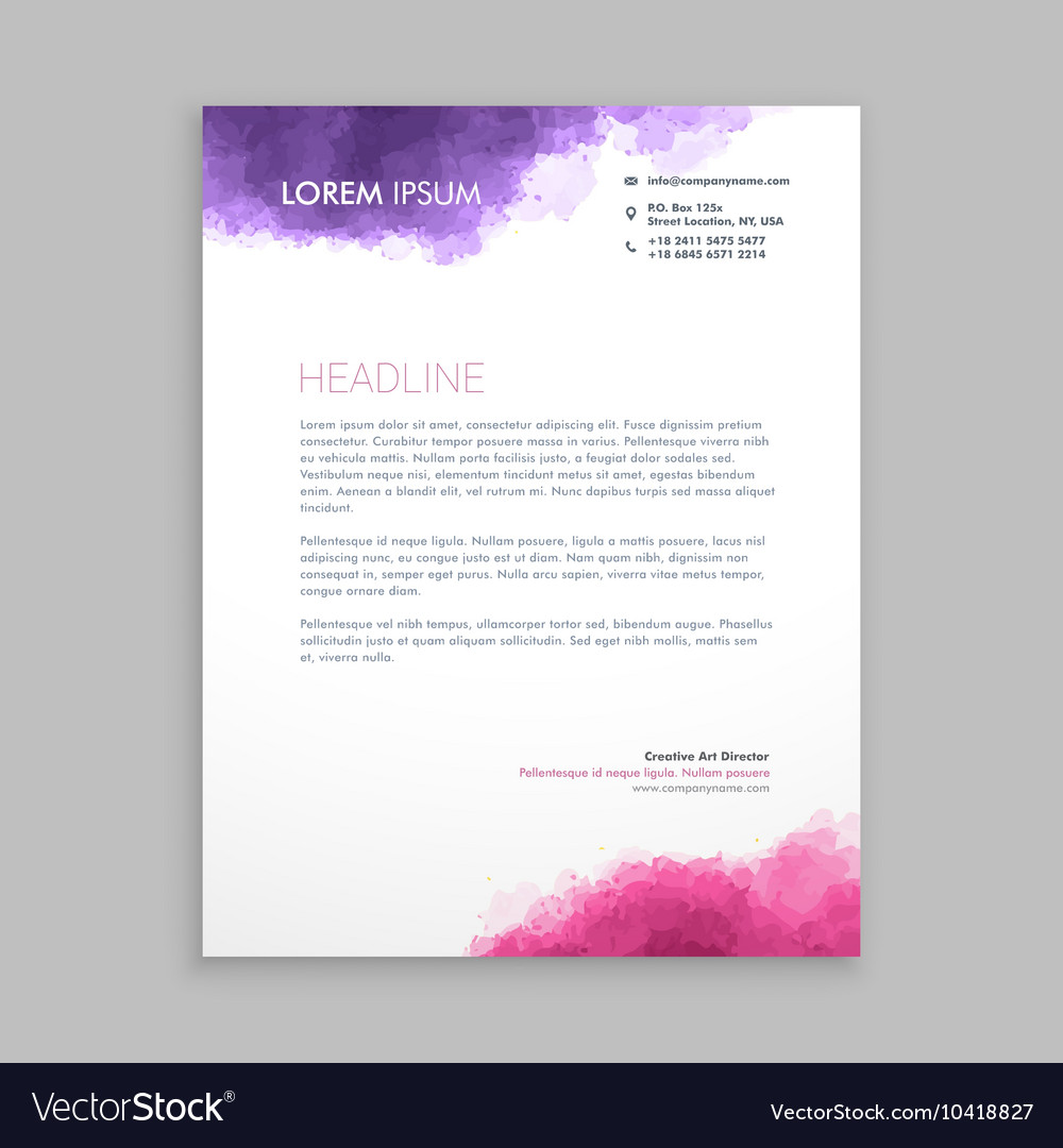 Letterhead design in paint style vector image