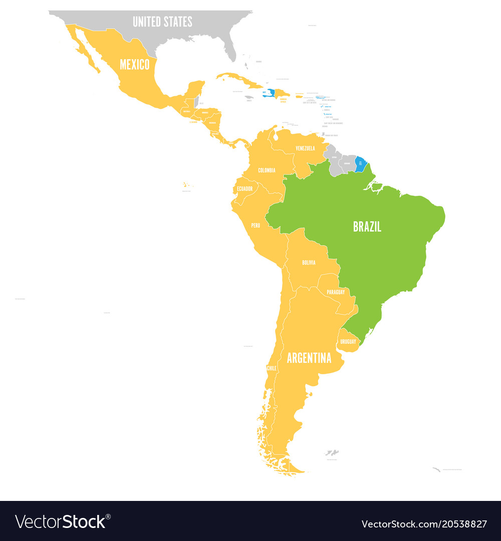 Map of latin america with differently