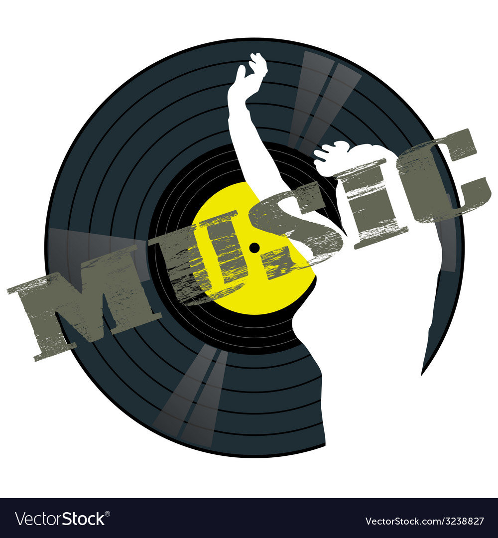 Music panel with girl vector image