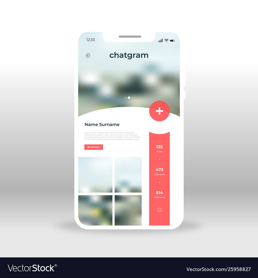 Red live chat room ui ux gui screen for mobile