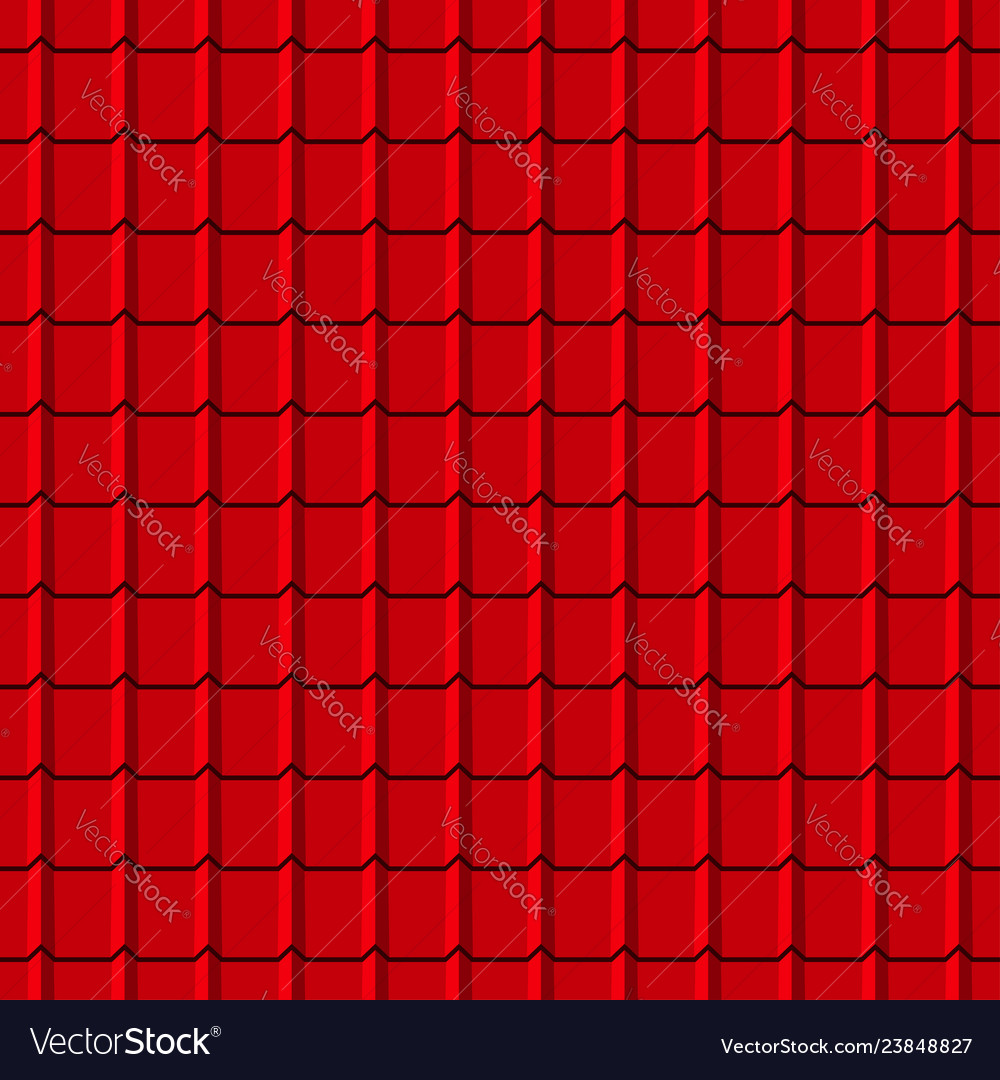 Roof tiles seamless pattern red shingles