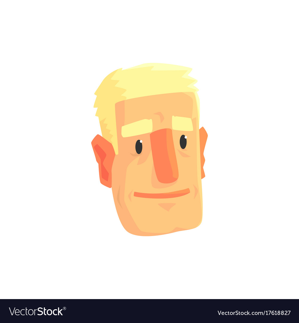 Young blond man face avatar positive male