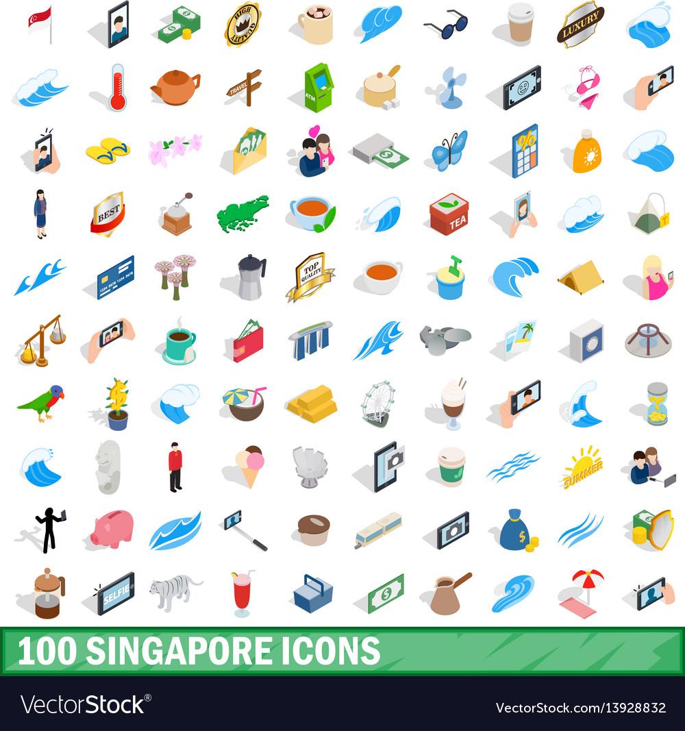 100 singapore icons set isometric 3d style