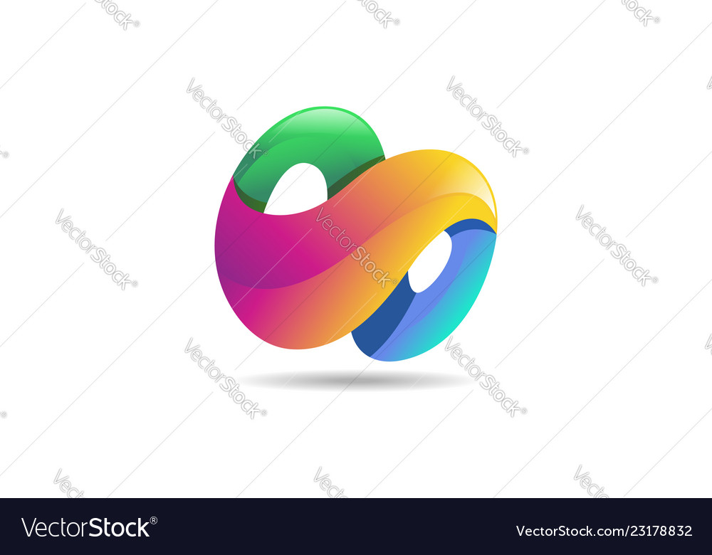 Abstract colorful logo 3d modern icon concept