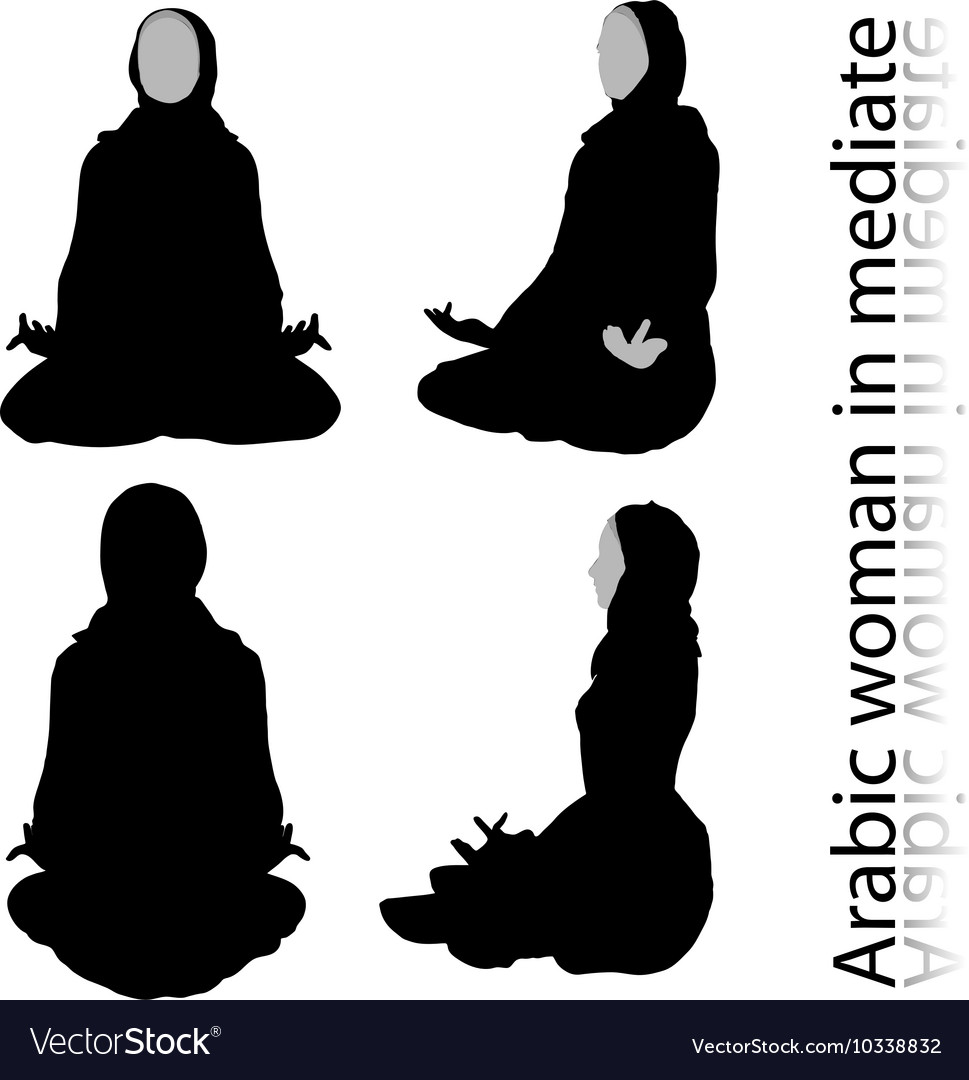 Arabic Woman Silhouette In Meditating Pose Vector Image