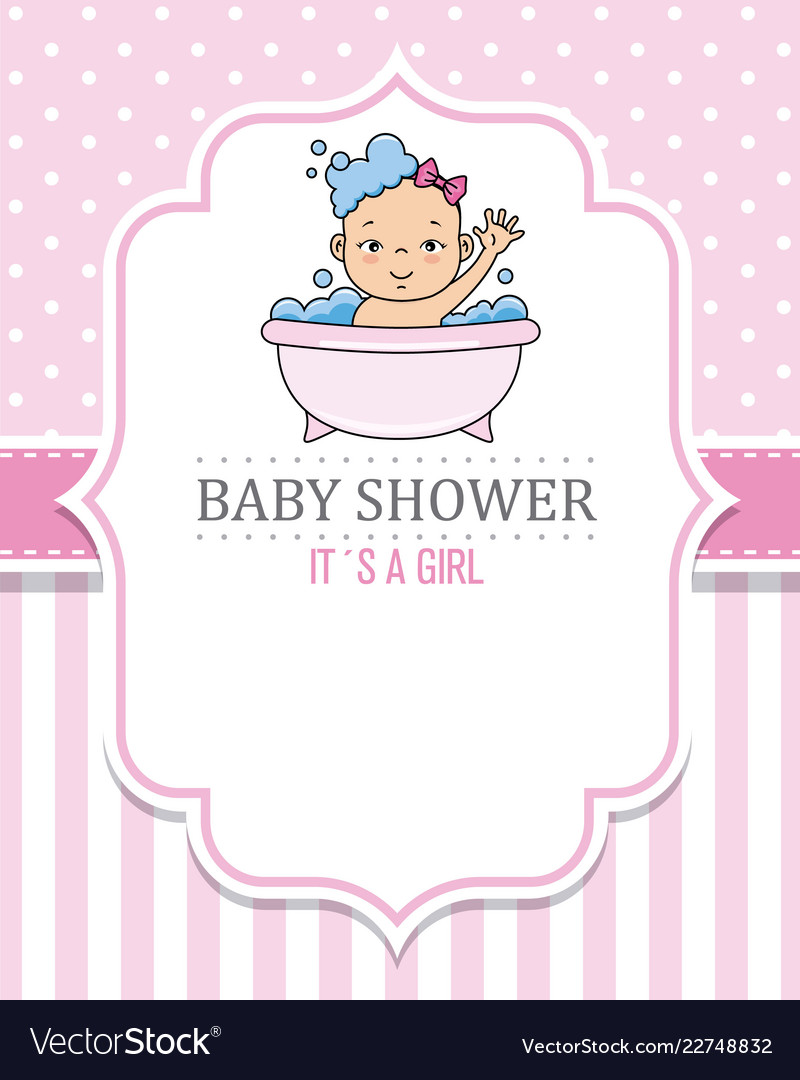 Baby shower card girl