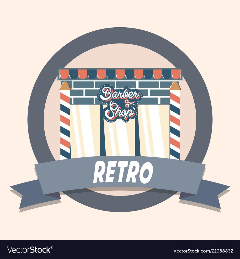 Barber shop retro shopping vintage label