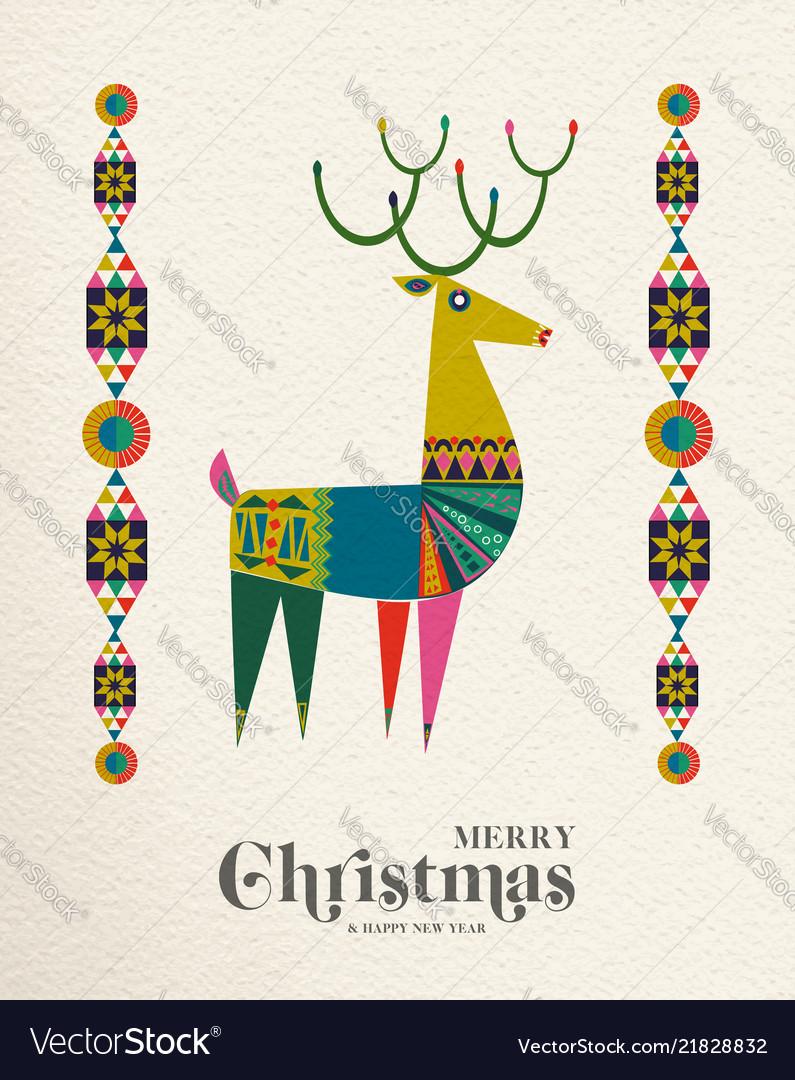 Christmas and new year scandinavian deer card