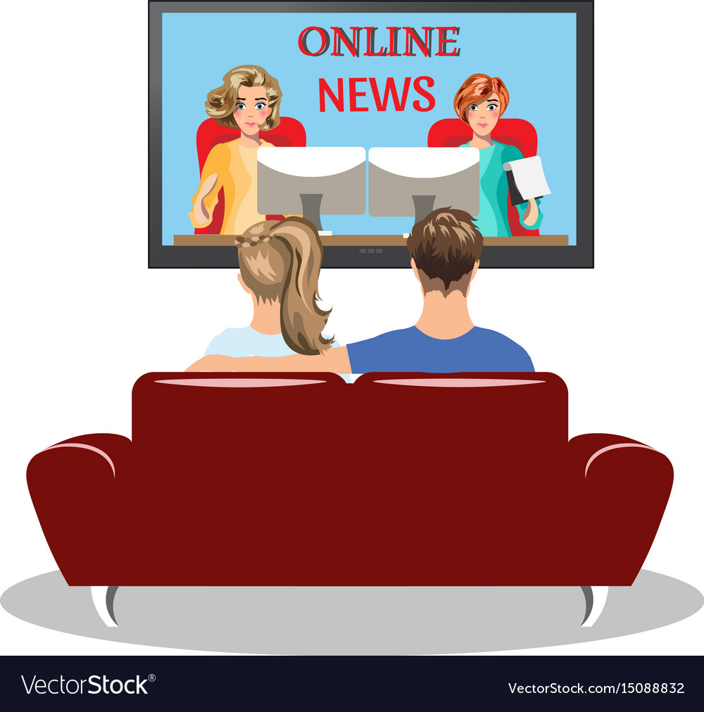 Couple sitting on the couch and watching tv