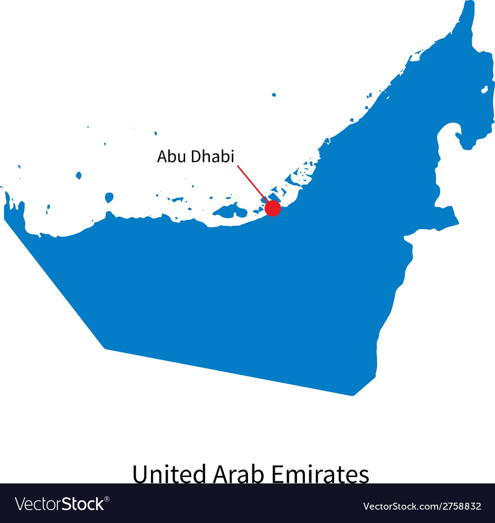 Detailed map of United Arab Emirates and capital