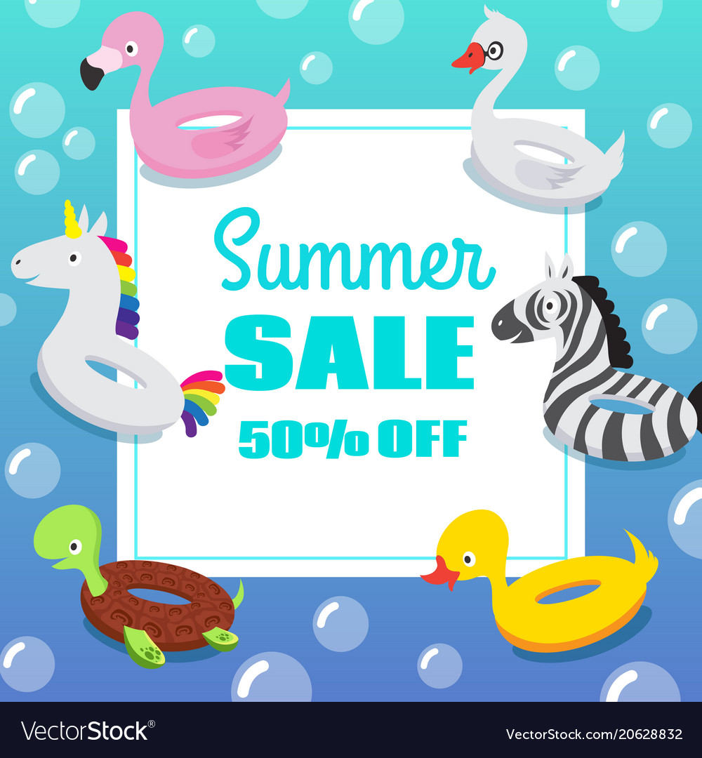 kids swimming pool party invitation poster with vector image