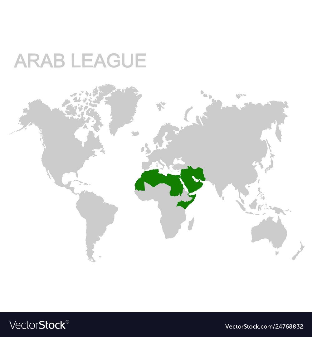 Map Arab League Royalty Free Vector Image Vectorstock