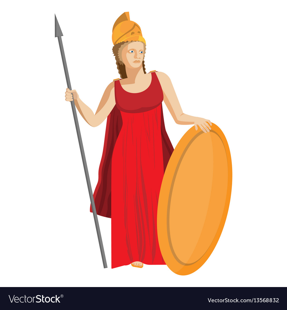 Mythological greek athena holding spear and shield