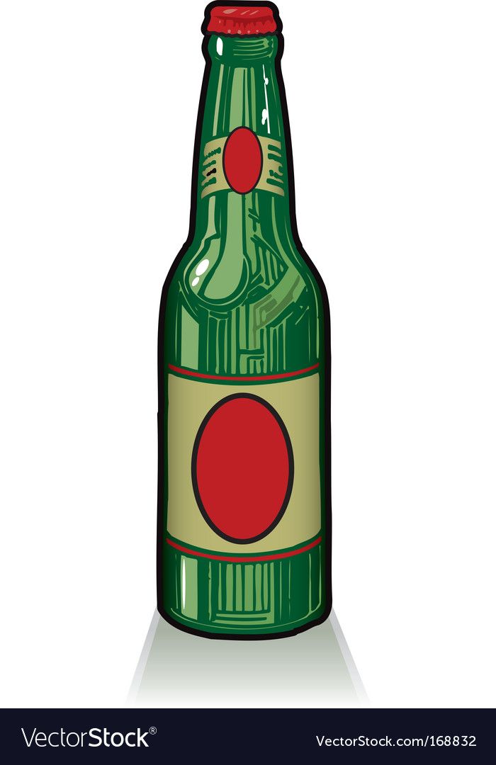 Old style green beer bottle