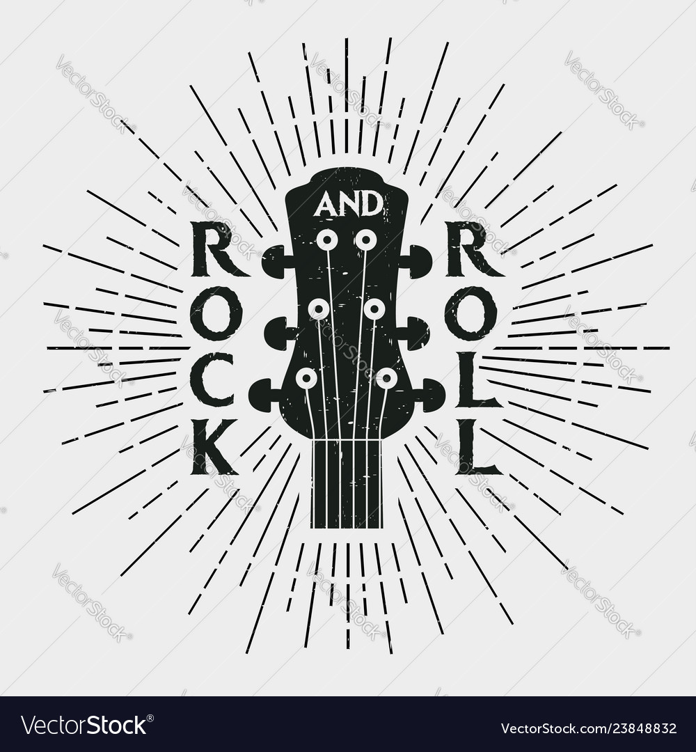 Rock and roll stamp with guitar