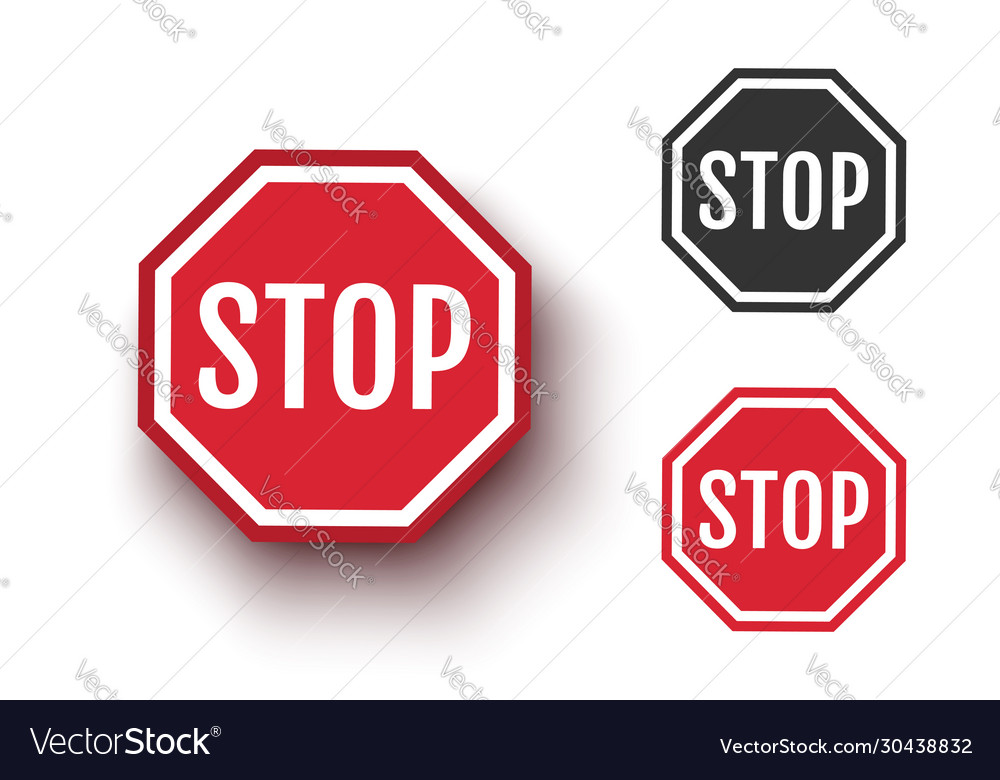 Set icons stop sign