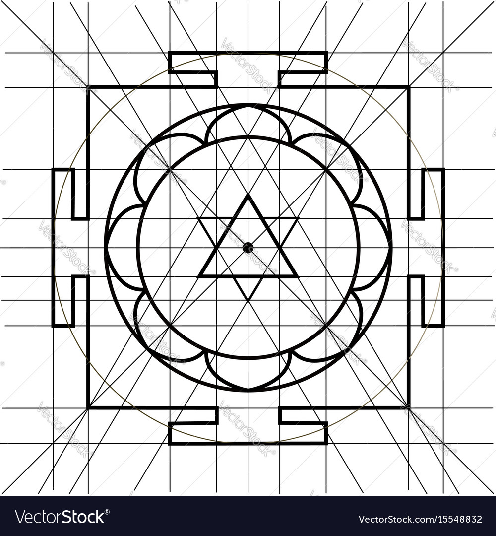 Sree yantra sacred geometry coloring book Vector Image