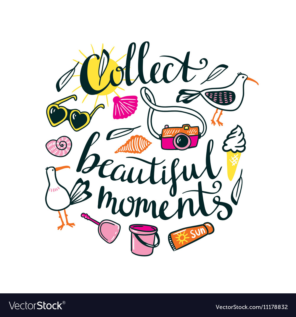 summer things with stylish lettering collect vector image