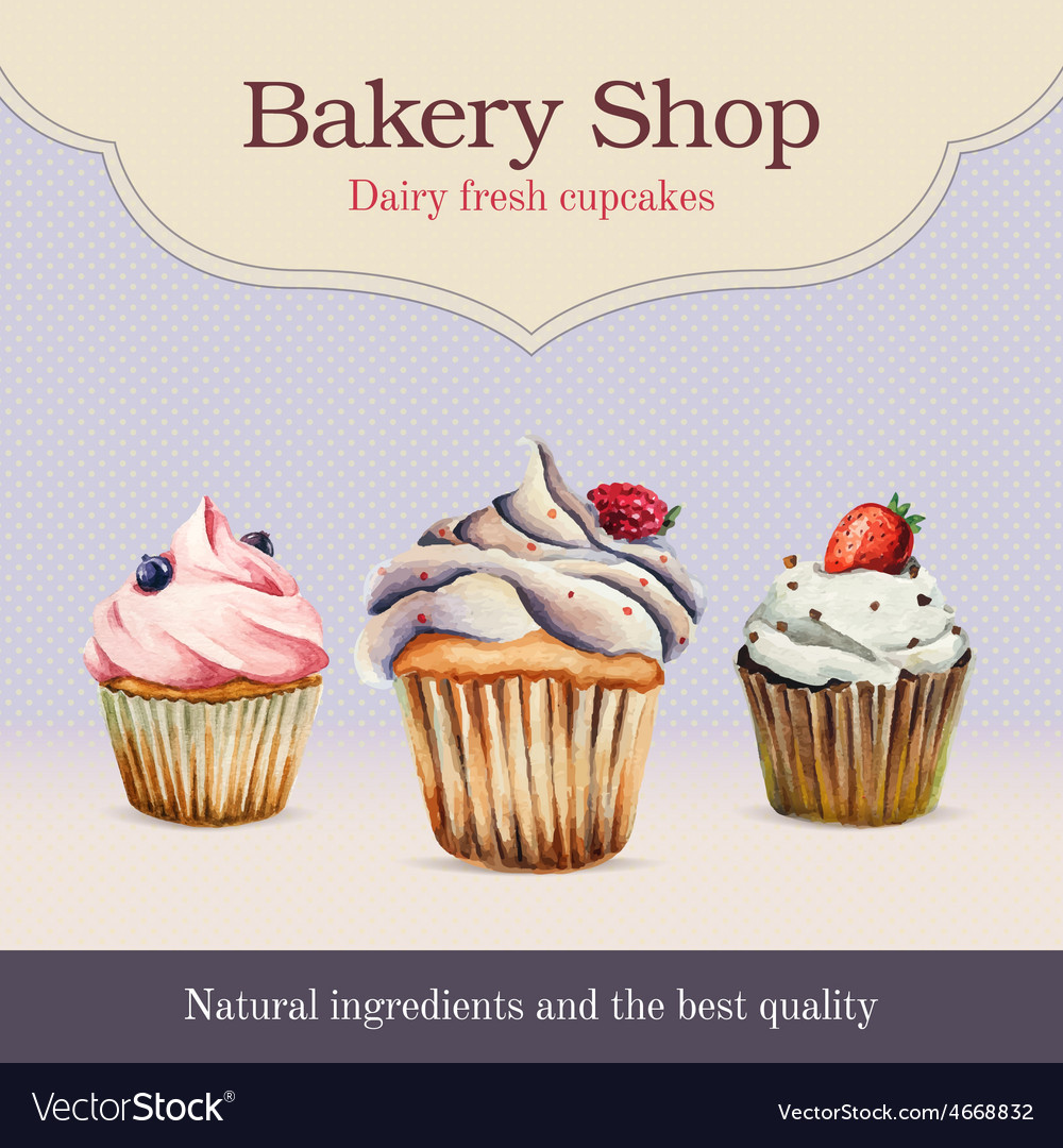 Watercolor bakery shop advertisement with cupcake