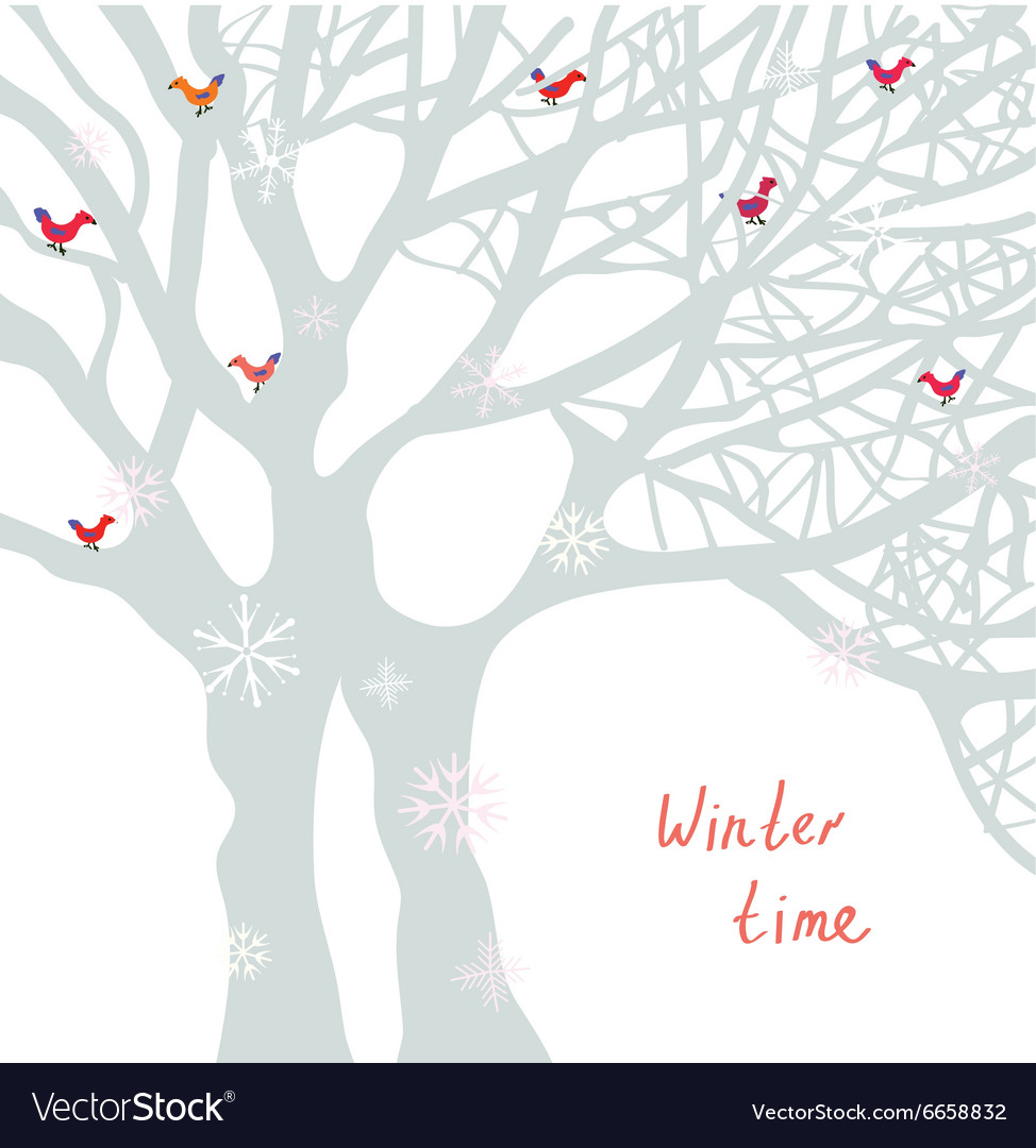 Winter time Christmas card with tree and birds