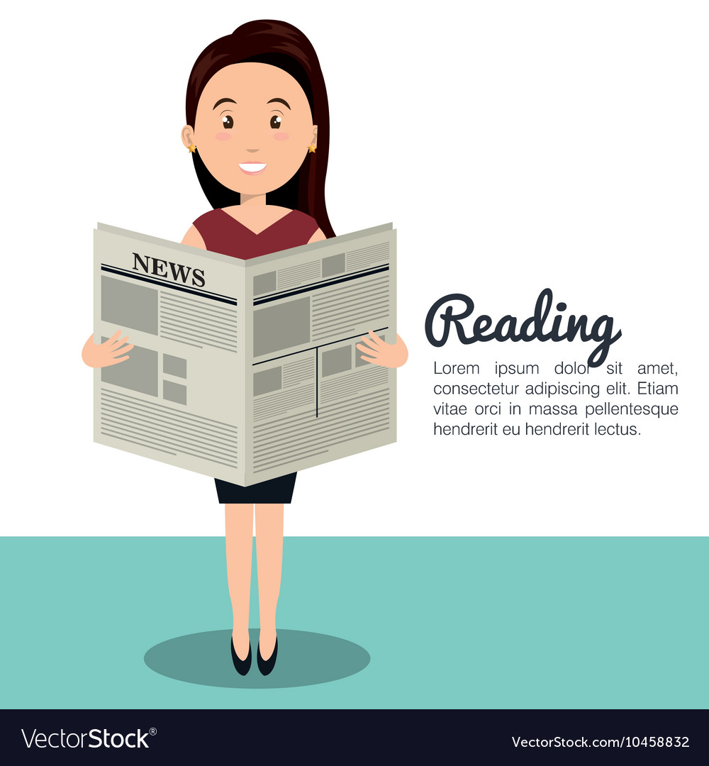 woman reading newspaper icon royalty free vector image