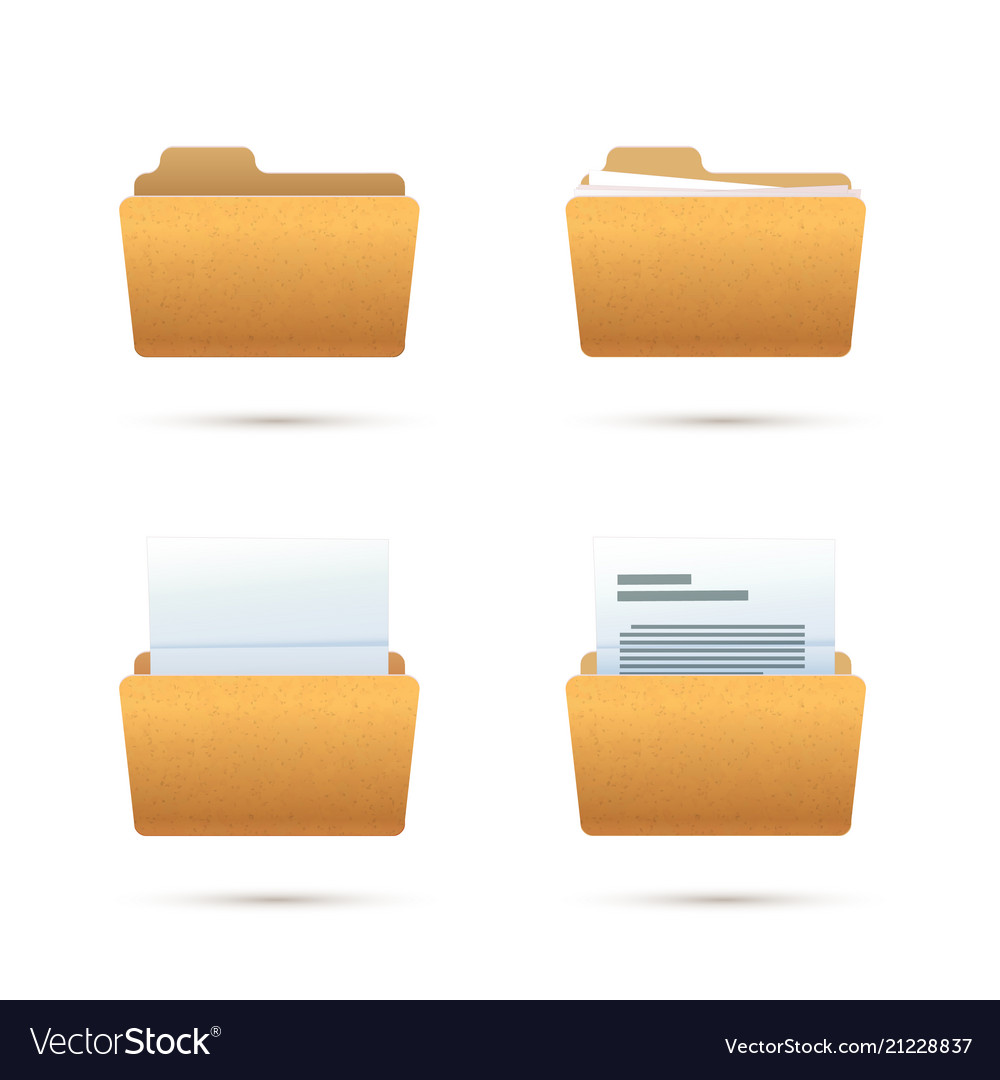 Bright yellow realistic folder icons