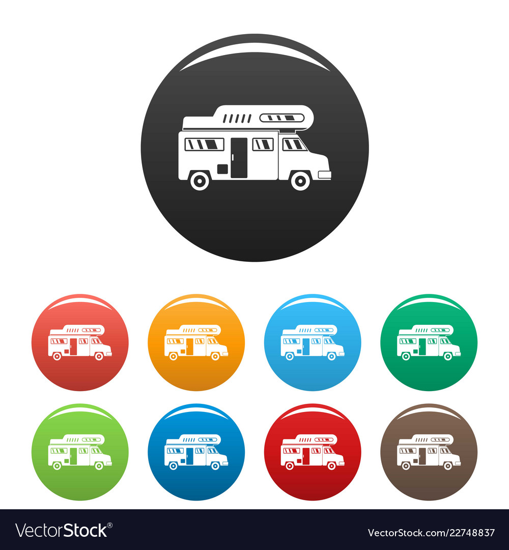 Camping truck icons set color