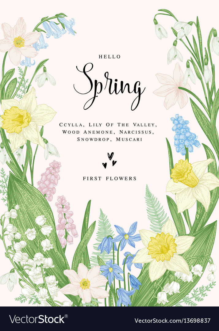 Card with spring flowers
