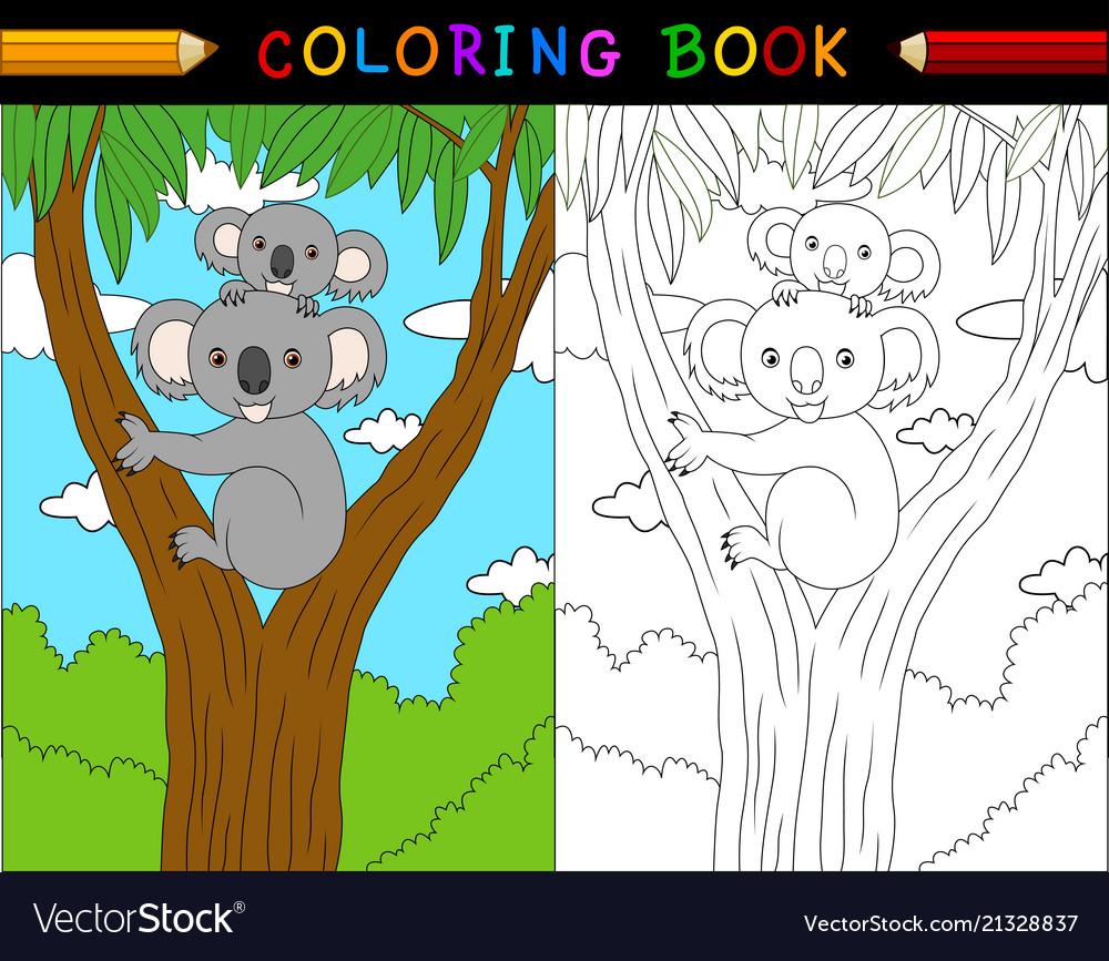 Cartoon koala coloring book australian animals se