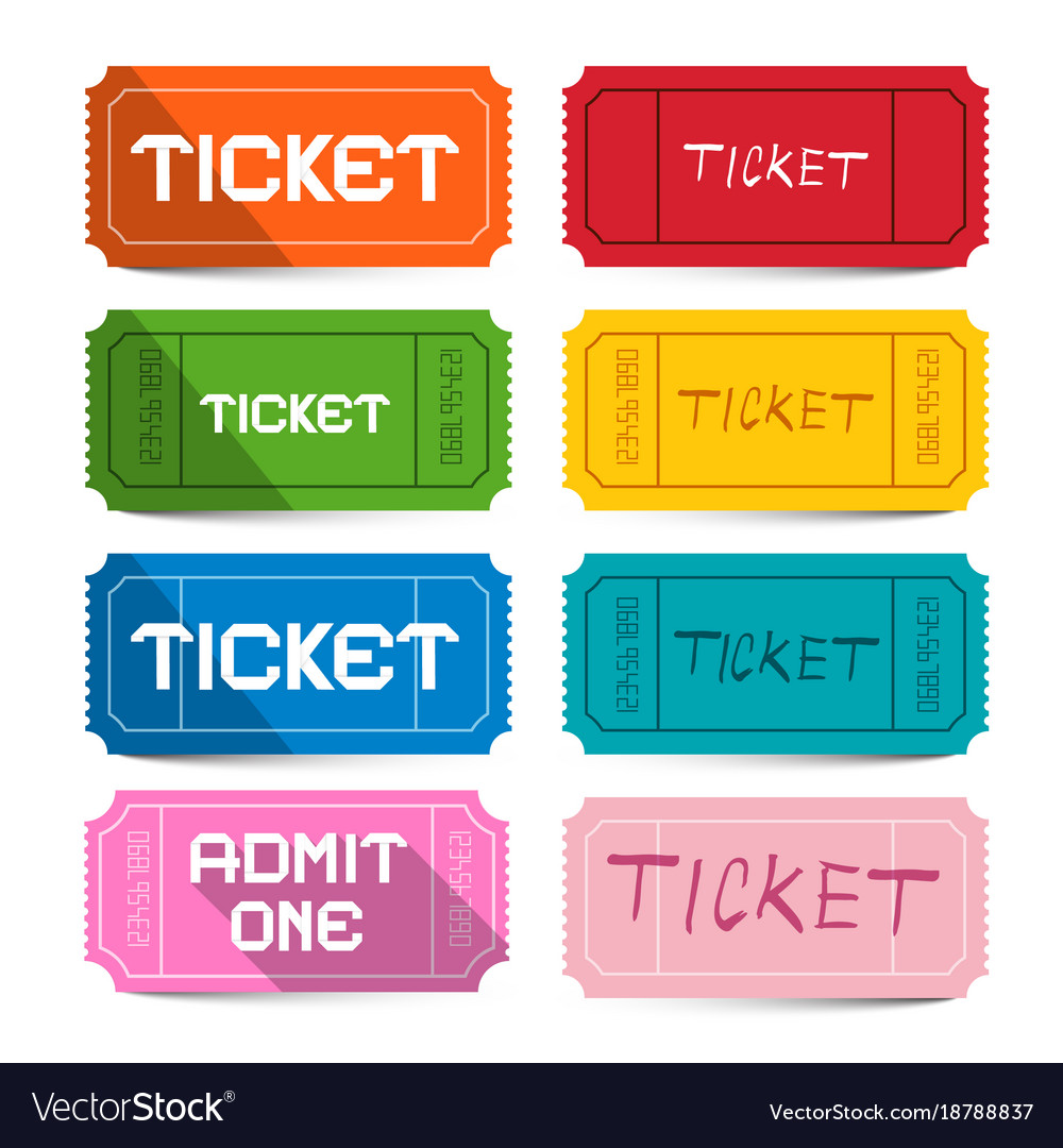 Colorful paper movie tickets set isolated on